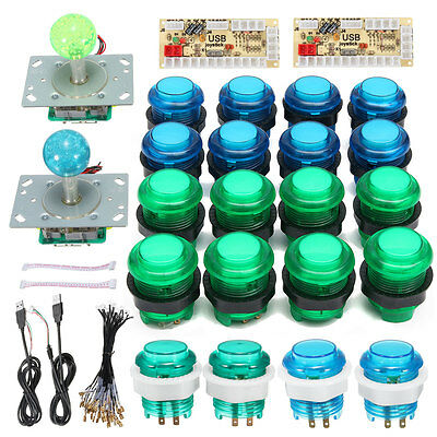 2x LED Arcade Mame DIY Kit Parts Push Buttons + Joysticks + USB Encoders For PC