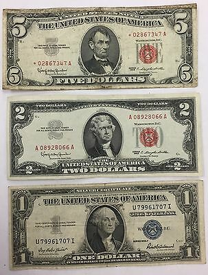 Lot of (3) Star $5 & $2 Legal Tender Red Seal & $1 Silver Certificate PM-15