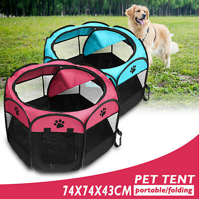 Folding Portable Doggie Play Pen Small Puppy Dog Cat Pet Tent Travel Garden Bed