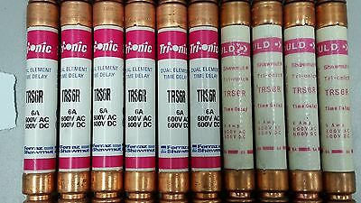 Lot of 10, GOULD SHAWMUT TRS6R 6A 600V Tri-onic Dual Element Time Del. RK5 Fuses