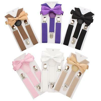 Toddler & Boys Girls Adjustable Braces Suspenders & Satin Bow Tie 2-8 years
