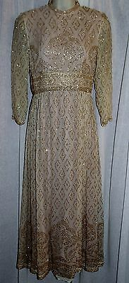REBECCA Vintage Sheer Chiffon Glittery Long Formal Dress Gown S/M *GORGEOUS*