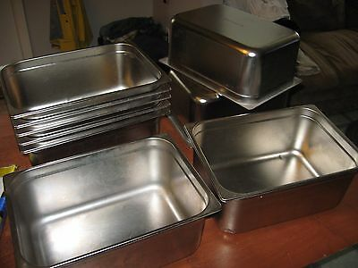 """9 piece LOT 6"""" Deep Stainless Steel Hotel Food 1/2 Pan Chafing TARRISON 14 x 10"""