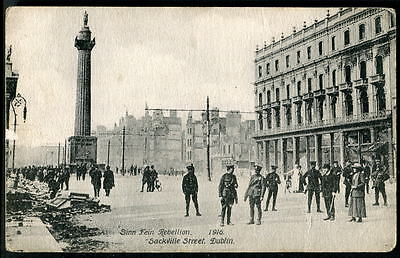 DUBLIN, EASTER RISING 1916. Damage in Sackville Street near Nelson's Pillar 1916
