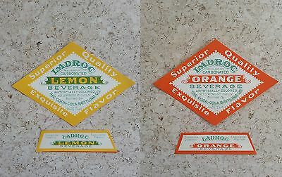 LADROC Orange and Lemon 2 x 2-Piece Paper Label  COCA-COLA Bottler!!!