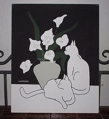 """Vintage Large 20"""" Marushka Silkscreen Cats and Calla Lily Print Picture Lillies"""