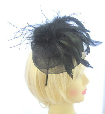 All Black Net & Feather Fascinator hat on Aliceband. Wedding Races