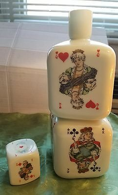 Vintage STACKED PLAYING CARD DICE Milk Glass DECANTER Dondorf Style Cards Bottle