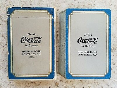 1930s Coca-Cola Playing Cards Blue/Gray Pinochle Hund & Eger Bottler!!