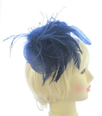 Navy Blue Net & Feather Fascinator hat on Aliceband. Wedding Races
