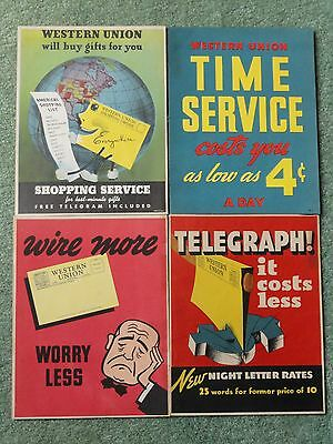 Vintage Western Union Advertising Posters Set of 4...11x8.5 each