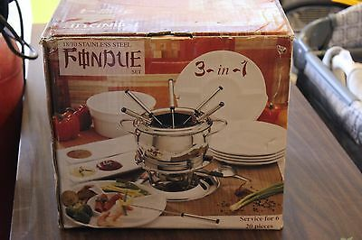 18/10 Stainless Steel Fondue Set 3-in-1 Brand New Open Box 20 Pieces Serves 6