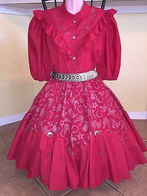 Square Dance Red & Silver Western Top, Skirt & Belt-Medium