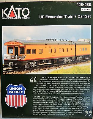 New Kato N Gauge Union Pacific 7 Car W/lights Excursion Set With Fef-3 Loco
