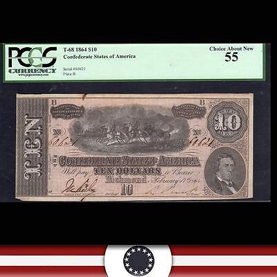 T-68 1864 $10 CONFEDERATE STATES Civil War Currency PCGS 55 60621