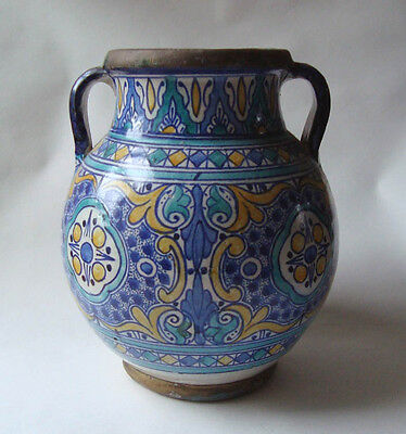 Good Antique Polychrome Moroccan Persian Islamic Iznik Pottery Metal Vase Signed