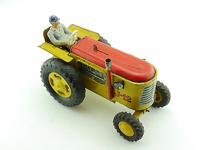 Joustra J-12 Traktor tracteur Uhrwerk wind up tin toy Blech 1602-27-27