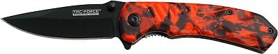 Tac-Force Red Camo Straight Assisted Black Folding Linerlock Knife TF-764RC