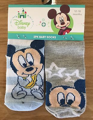 Baby Boy 2 Pack Socks with Baby Mickey Mouse detail.