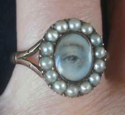 Lovely Georgian Gold & Natural Pearl Lovers Eye Ring