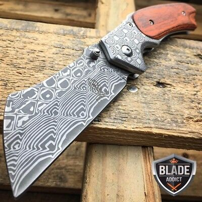 "8"" TACTICAL Spring Assisted Open Pocket Knife CLEAVER RAZOR DAMASCUS Blade -S"