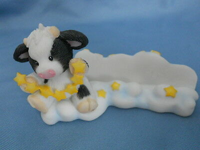 Mary's Moo Moos  ~Business Card Holder Desk~  Cow on Clouds w Stars Farm Animal