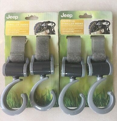 Jeep Universal Stroller Hook Lot Of 2 360 Degree Swiveling Hooks Grey 90216R