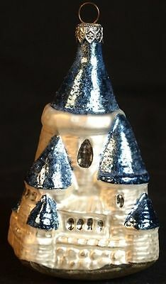 Polonaise Made in Poland Glass Blue Castle Christmas Ornament