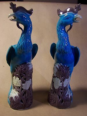 Pair Chinese Porcelain Phoenix Birds Republic Period Turquoise c.1920