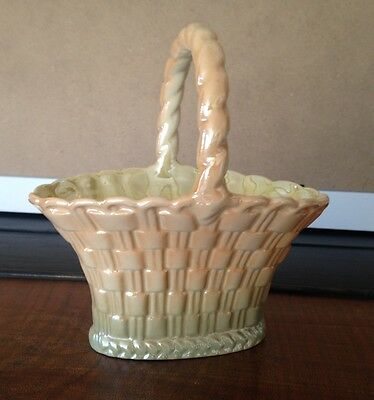 Wembley Ware lustre basket yellow green 15cm height vintage