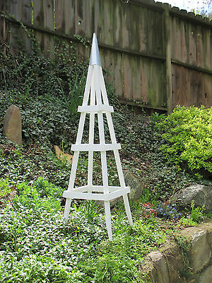 GARDEN TOWER OUTDOOR DECOR OBELISK CLIMBING PLANTS TUTEUR PATIO WHITE  (Short)