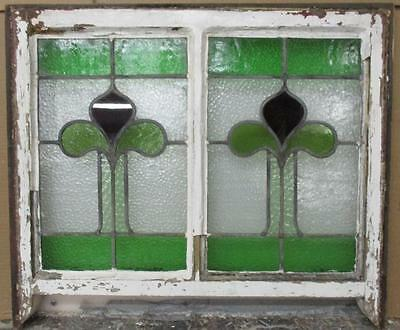 "VICTORIAN / EDWARDIAN ENGLISH LEADED STAINED GLASS  SASH WINDOW 24.5"" x 18.75"""
