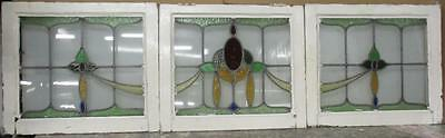 """SET OF  3 OLD ENGLISH LEADED STAINED GLASS WINDOWS 22.75"""" x 19.5"""" Each"""