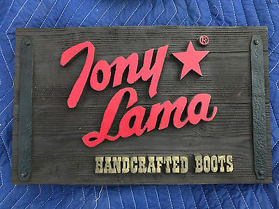 "Tony Lama Handcrafted Boots Wood Advertising Sign 11"" x 18"""