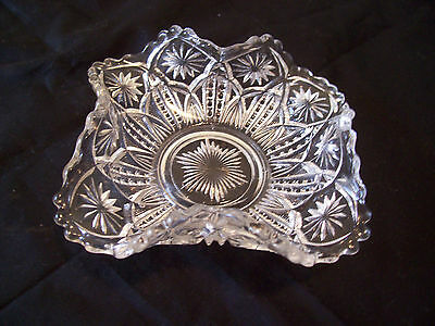 Vintage Pressed Glass Bowl with Ruffled edge
