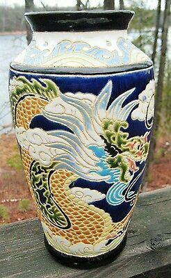 """ANTIQUE CHINESE EXPORT VASE DRAGON IN CLOUDS LATE 19th CENTURY 11 5/8 """""""