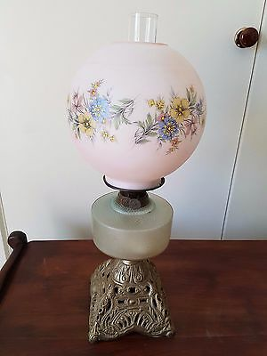 antique kerosene lamp single burner hand painted glass globe