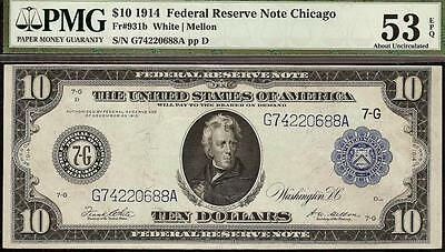 Large 1914 $10 Dollar Bill Chicago Fed Note Big Paper Money Currency Pmg Au 53