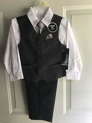 George Baby 3T Baby Boy 4-piece Dressy Suit & tie Outfit Set NWT!