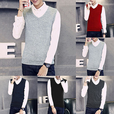 Mens Casual Knitwear Slim Fit Knitted Cardigan Pullover Jumper Sweater Tops Vest