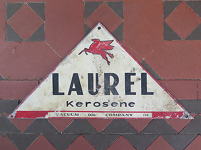 LAUREL KEROSENE VACUUM MOBIL TIN SIGN c1930s PETROL OIL RELATED