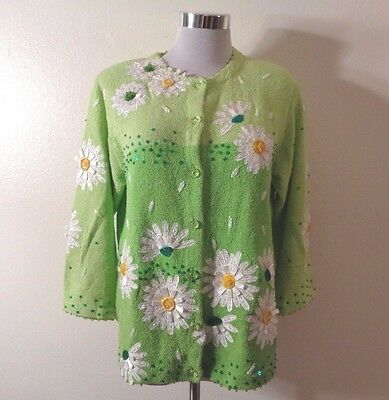 80s DESIGN OPTIONS by PHILIP & JANE GORDON LIME GREEN FLORAL BEADED CARDIGAN M