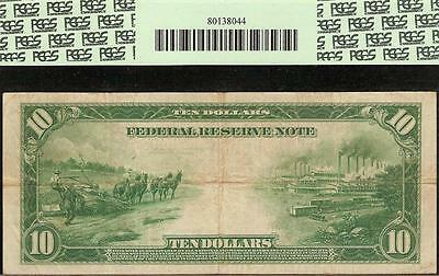 Large 1914 $10 Dollar Bill Federal Reserve Note Big Paper Money Currency Pcgs Vf