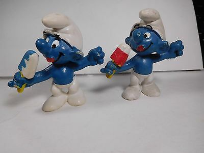"█ Two--""Ice Lolly Smurfs"" 2.0053 2 Different--Red/White & Blue/White  >^,,^<"