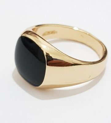 Gold Plated Onyx Signet Ring Mens Band Pinky Sizes 6- 7 -8 -9- 10 -11 -12 -13