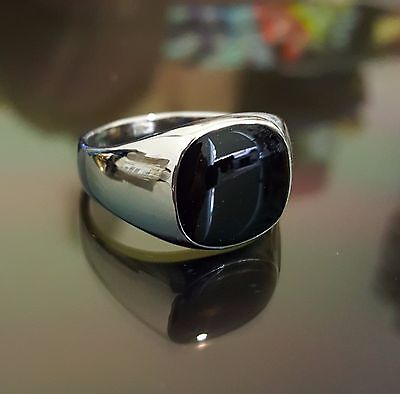 Silver Plated Black Onyx Mens Ring Signet Wedding Band Pinky (Sizes N to X 7 12