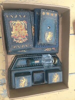 Rare Arts & Crafts 1920's Liberty & Co Boxed Embossed Leather Desk Set