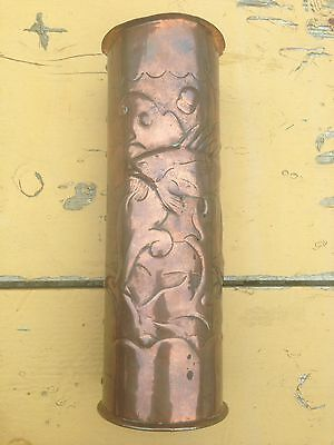 Arts & Crafts Newlyn Copper Spill Vase Embossed With Fish