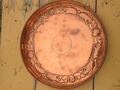 Arts & Crafts Large Newlyn Copper Galley Tray Embossed With Fish & Shells