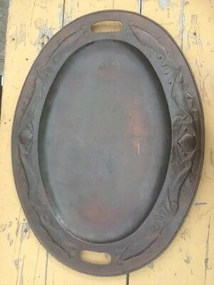 Arts & Crafts Huge Rare Newlyn Copper Tray With A Embossed Border Of Fish